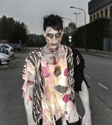 Furchterregender Zombie als Halloween Herrenkostüm