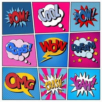 Comic Kostüme mit Sprechblasen