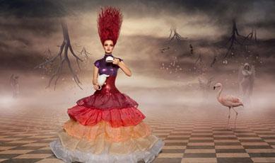 Verbildlichte Darstellung der Märchenwelt von Alice im Wunderland mit Alice im Mittelpunkt