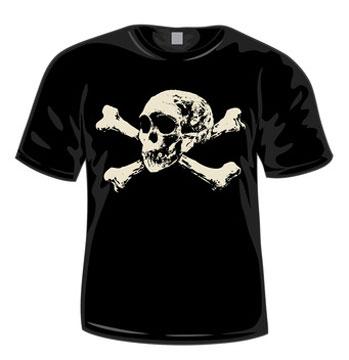 Schwarzes Piraten T-Shirt mit Totenkopfmotiv