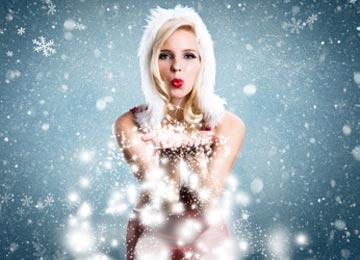 Weihnachtsfrau Kostüm mit Schneeflocken