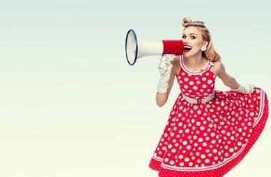 Frau mit Megafon 50er Jahre Kostüm