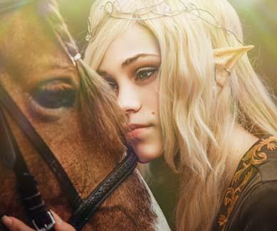 Elfenkostüm Damen mit Pferd