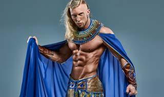Pharao Kostüm mit Umhang und freiem Oberkörper