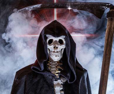 Sensenmann Kostüm mit Totenkopf Maske