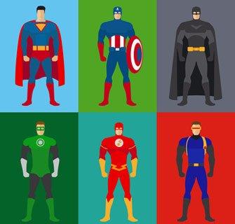 Superhelden Kostüme von sechs Superhelden