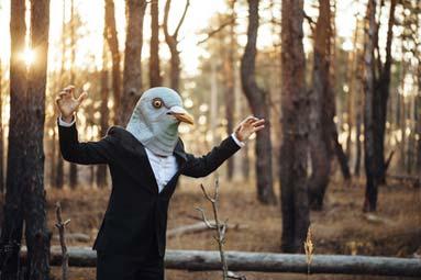 Vogelkostüm mit Maske im Wald