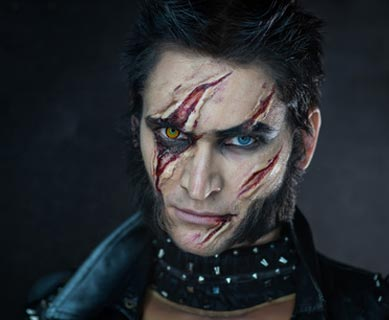 Wolverine Kostüm mit Narben-Make-up